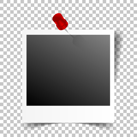 Pinned photo frame on transparent background
