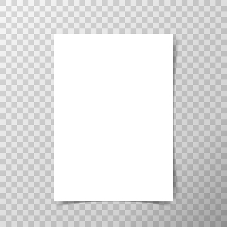 A4 format paper with shadows on transparent background.
