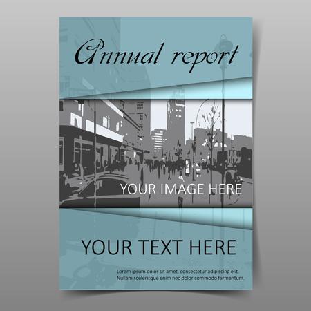 Blue annual company report cover design template