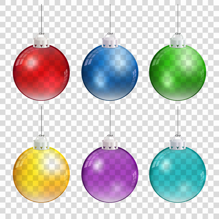 Realistic Christmas balls in different colors hanging on transparent background