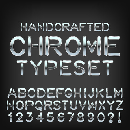 Handcrafted metal typeset vector chrome custom font. Ilustração