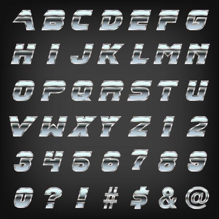 Metallic sharp edged font typeset on grey background.