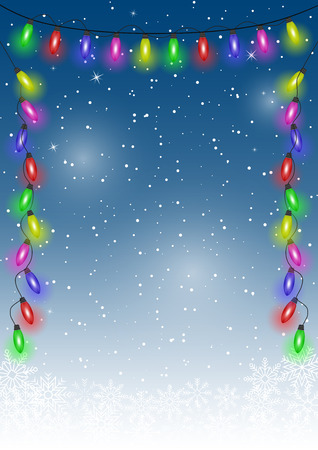 Christmas snow background with festive lights and stars. Vector.