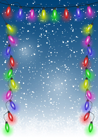Christmas festive decoration background with lights and falling snowflakes. Vector. Ilustração