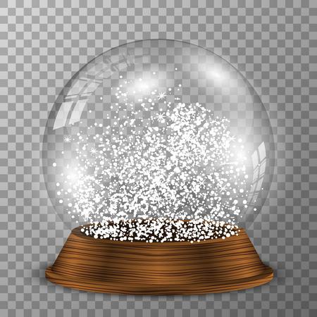 Crystal snow globe on wooden pedestal. Transparent snowglobe with wood decoration. Ilustração