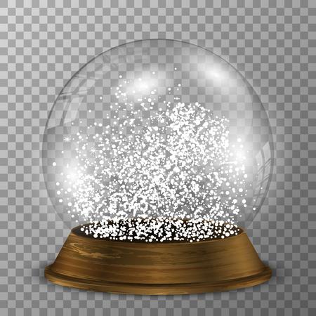 Crystal snow globe on wood stand. Transparent vector snowglobe with wood decoration. Ilustração