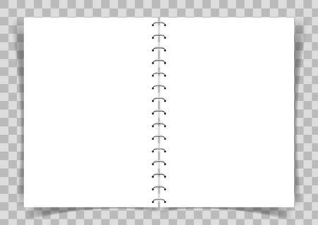 Blank paper book connected with spiral on transparent vector background. Vektorové ilustrace