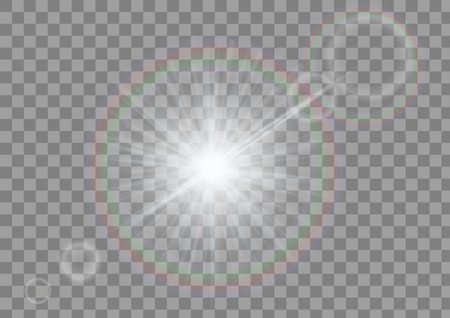 Sparkling light with flares on transparent background. White sparkle isolated vector.