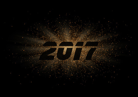 Year 2017 sign on glitter ray explosion vector background.