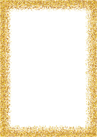 Golden glitter frame a4 format size. Glittering sparkle frame on white vector background. Stock Illustratie