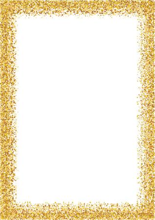 Marco de brillo tamaño de formato A4 de oro. Resplandeciente marco de chispa en el fondo vector blanco.