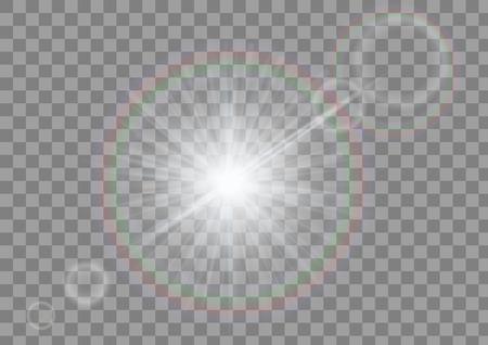 Mousserend licht met fakkels op transparante achtergrond. Witte schitterende geïsoleerde vector. Stockfoto - 68892394