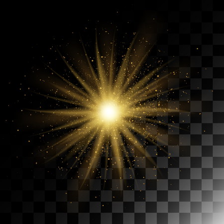 Particle explosion golden glitter texture glow effect with transparent flares. Vector.