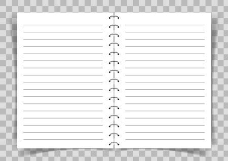 Blank paper book with lines connected with spiral on transparent vector background.