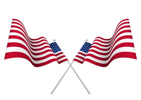 United states waving 3d American flag. Usa national symbol vector eps10.