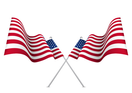 flagged: United states waving 3d American flag. Usa national symbol vector eps10.