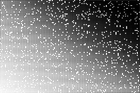 Vector halftone transition pattern made of dots with randomly deleted circles. Ilustração