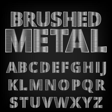 Brushed aluminum metal realistic font. Detailed chrome alphabet typeset on vector background.
