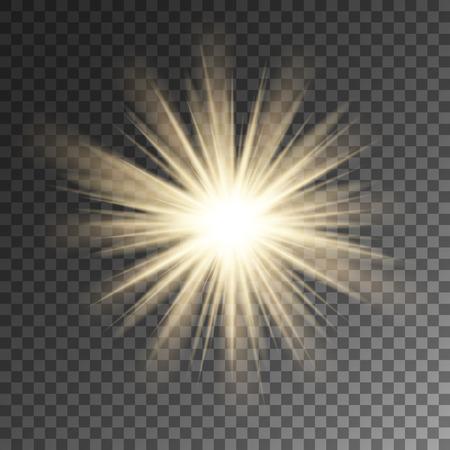 Sparkling sun rays burst star flare on transparent vector background. Ilustração