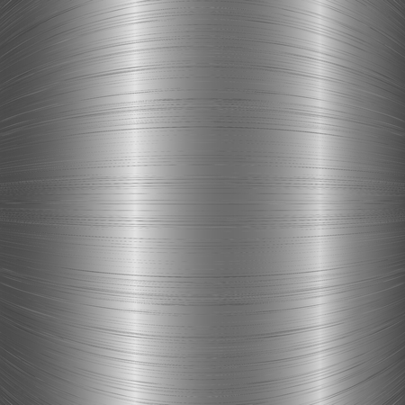 Polished rounded metal chrome brushed texture background. Aluminum rough texture for design concept. Vector.