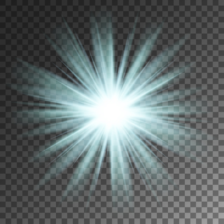 Sparkling blue rays star on transparent vector background.