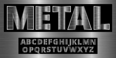 platinum: Brushed aluminum metal realistic font. Detailed metallic chrome alphabet typeset on vector background.