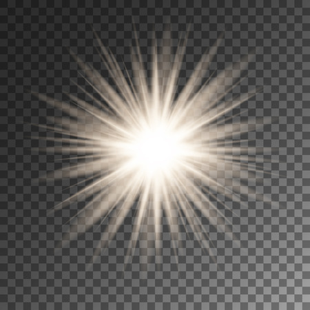 Sparkling sun rays star flare on transparent vector background. Ilustração