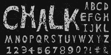 Custom irregular bullet hole chalk typeface. White hand drawn font on scratched vector background.