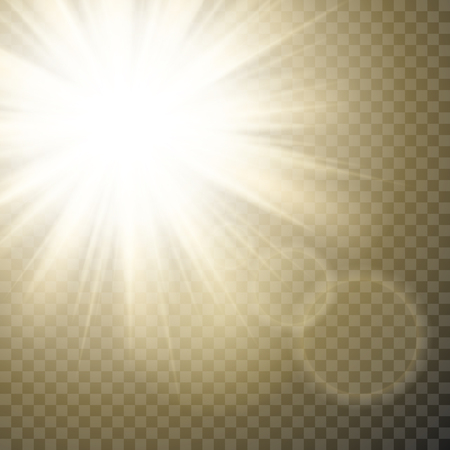 Sparkling sun rays with hot spot and flares with sun flare effect on transparent vector background Ilustração