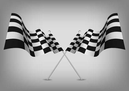 Checkered flags racing symbol isolated on white. Vector.