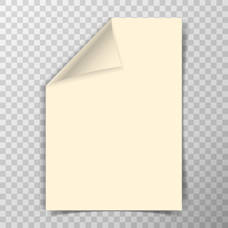 Folded a4 paper sheet on transparent vector background.