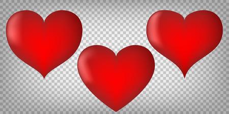 Hearts with shading on transparent background. Emotion symbols vector. Ilustração