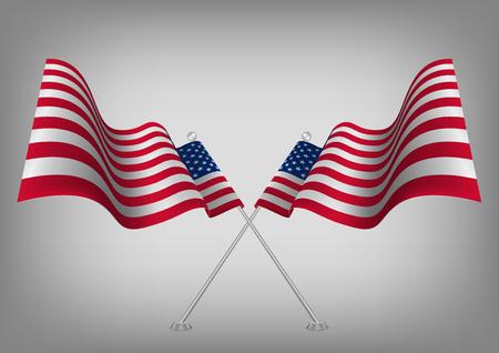 flagged: United states waving shaded American flag. Usa national symbol vector eps10. Illustration