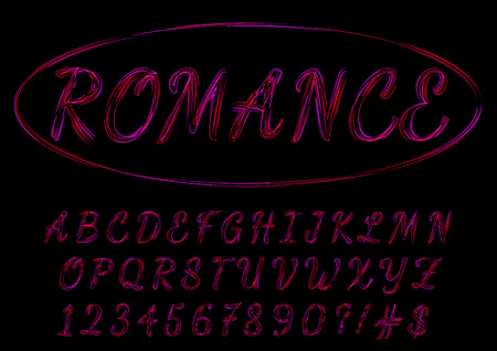 Romantic red and purple script typeface. Valentines day love letters on vector background.