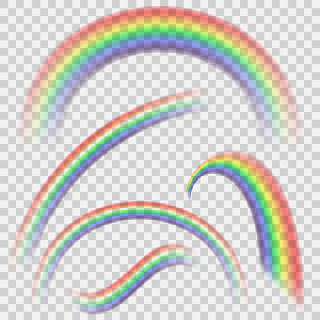 Transparent realistic colorful rainbow set. Rainbow collection isolated on transparent vector background.