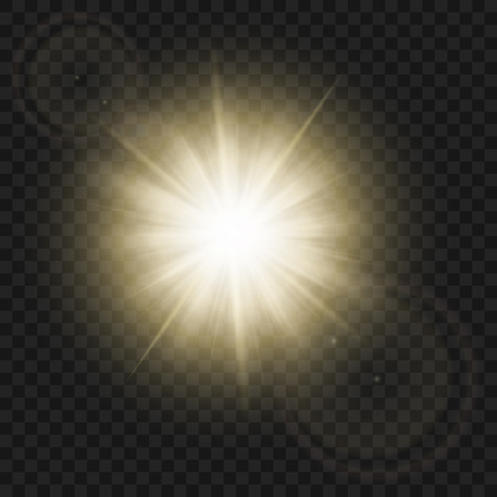 Sparkling sun rays with hot spot and flares with sun flare effect isolated on transparent vector background .