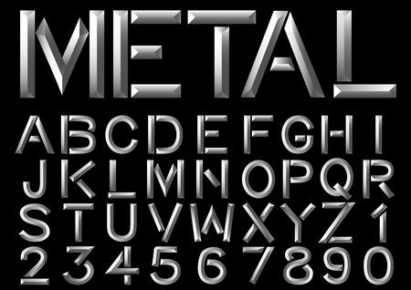 Metal typeface beveled set of letters on black background. Vector font.