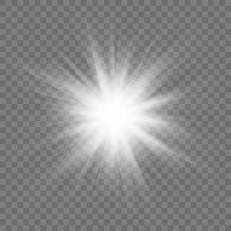 Glowing sun rays sparkle star with lens flare effect on transparent vector background. Ilustração