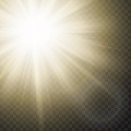 Sparkling Sun Rays With Flare Effect On Transparent Background. Vector. Ilustração