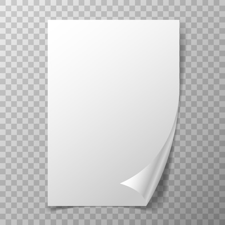 Page curl on transparent background. Realistic folded empty paper.
