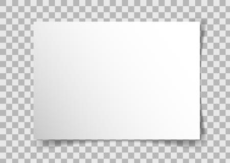 Vector A4 proportions landscape paper with shadows on transparent background. Ilustração