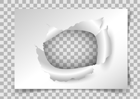 folded paper: Torn paper with realistic transparent hole a4 proportions vector format.