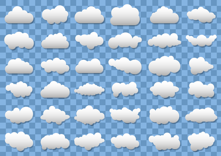 Cloud icons on transparent blue background. Ilustração