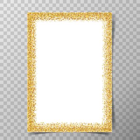 Golden glitter frame on a4 paper with shadows on transparent vector background. Ilustração
