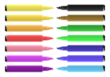 Set Of Coloring Markers With Vibrant Colors. Stock Illustratie