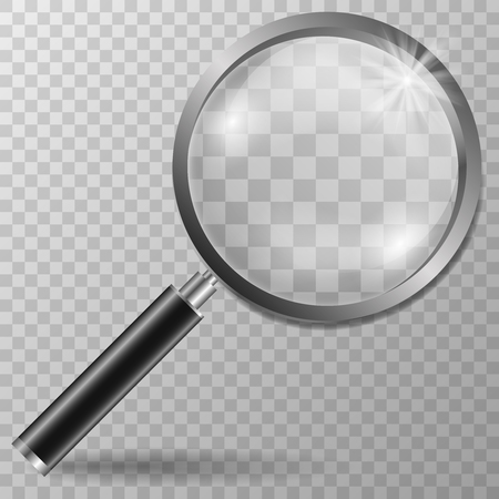 Realistic Magnifying glass on transparent vector background. Stock Illustratie