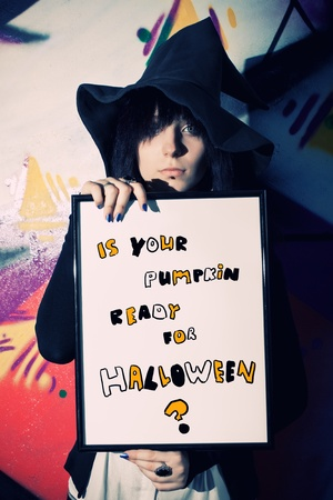 graffity: Is your pumpkin ready for Halloween? That is the question Stock Photo
