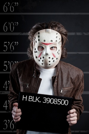 Prisoner mugshot of maniac in mask photo