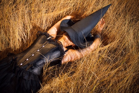 Pretty sexy witch laying in the field Stock Photo - 12640017