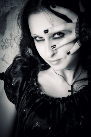 Pretty smiling gothic girl  Stock Photo